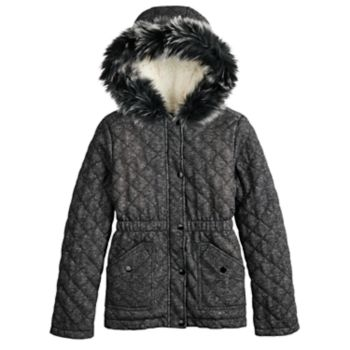 Girls 4-16 SO® Quilted Faux-Fur Anorak Midweight Jacket