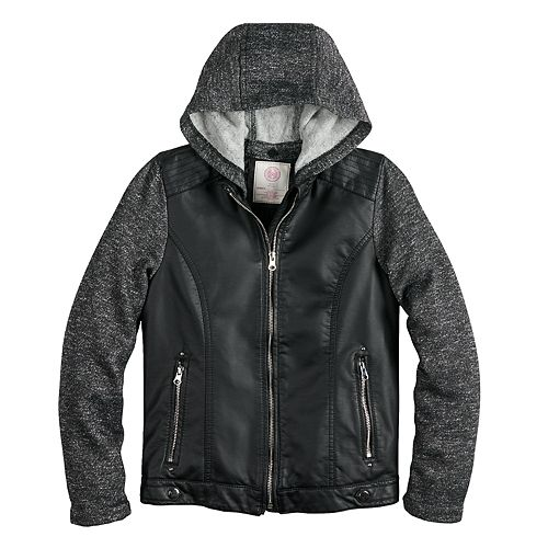 Girls 7-16 SO® Faux-Leather Moto Hooded Lightweight Jacket