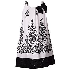 Girls 7-16 Bonnie Jean Sleeveless Floral Flocked Trapeze Dress