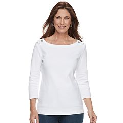Women's Croft & Barrow® Button-Shoulder Boatneck Top