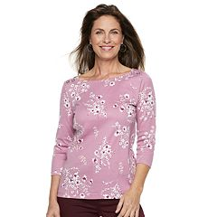 Women's Croft & Barrow® Button-Shoulder Boatneck Top