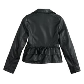 Girls 4-16 SO® Faux-Leather Lightweight Moto Jacket