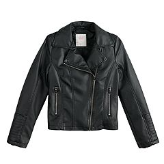 Girls 4-16 SO® Faux-Leather Lightweight Moto Jacket
