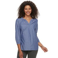 Women's Croft & Barrow® Splitneck Peasant Top