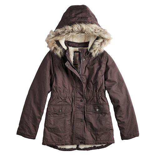 0ba395695730 Girls 4-16 SO® Sherpa-Lined Faux-Fur Midweight Anorak Jacket