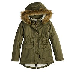 Girls 4-16 SO® Sherpa-Lined Faux-Fur Midweight Anorak Jacket