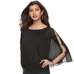 Women's Jennifer Lopez Embellished Chiffon Top