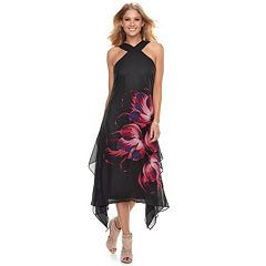 Women's Jennifer Lopez Crossover-Neck Chiffon Dress