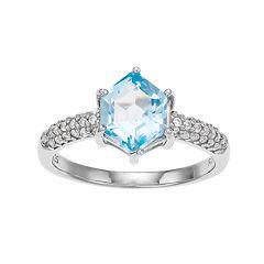Sterling Silver Hexagon Cut Blue Topaz Ring