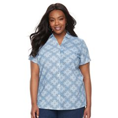 Plus Size Croft & Barrow® Button Front Camp Shirt