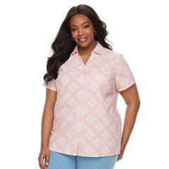 Plus Size Croft & Barrow® Button Front Camp Shirt