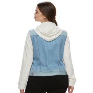 Juniors' Plus Size Mudd® Hooded Knit Sleeve Jean Jacket