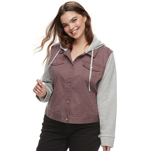 6da0035d87206 Juniors  Plus Size Mudd® Hooded Knit Sleeve Jean Jacket