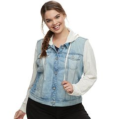 Juniors' Plus Size Mudd® Hooded Knit Sleeve Jean Jacket