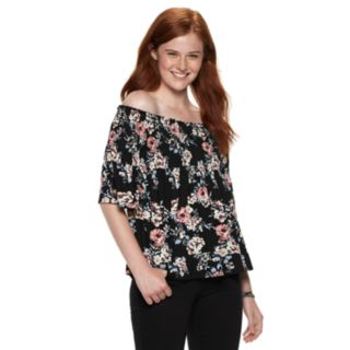 Juniors' Rewind Printed Smocked Off-the-Shoulder Top