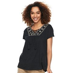 Women's SONOMA Goods for Life™ Embroidered Lace-Up Top
