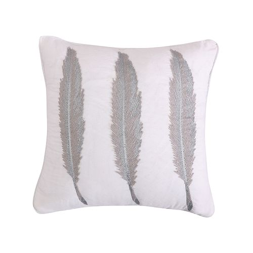 Levtex Mirage Silver-Tone Feathers Throw Pillow