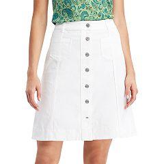 Women's Chaps Button-Front Jean Skirt