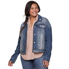 Juniors' Plus Size Mudd® Faded Core Denim Jacket