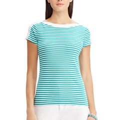 Women's Chaps Striped Lace-Up Shoulder Tee