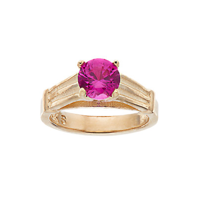 My Petite Ring 10k Gold Cubic Zirconia Birthstone Ring Charm
