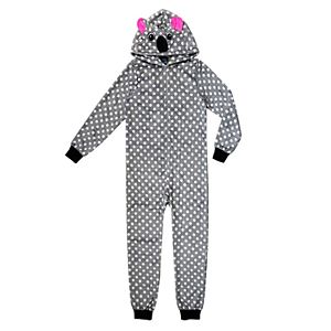 066b7e4ab Girls 6-12 Zebra Hooded Fleece Union Suit Pajamas