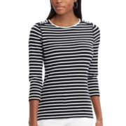 Women's Chaps Striped Lace-Up Shoulder Top