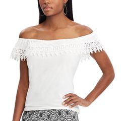 Women's Chaps Lace Trim Off-the-Shoulder Top