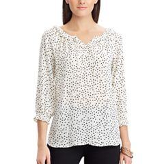 Women's Chaps Dot Ruffle-Trim Splitneck Top