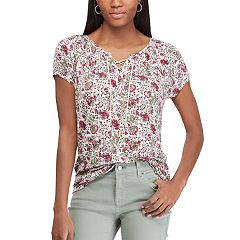 Women's Chaps Print Lace-Up Top