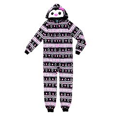 Girls 4-16 Holiday Hooded One-Piece Union Suit Pajamas