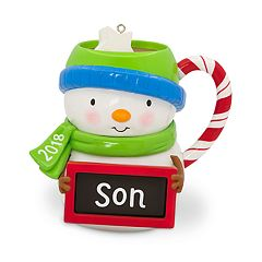 Son Snowman Mug 2018 Hallmark Keepsake Christmas Ornament