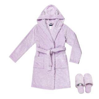 Girls 4-16 Jellifish Fleece Robe & Slippers Set