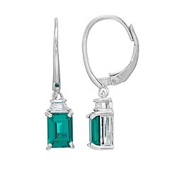 Sterling Silver Simulated Emerald Leverback Earrings