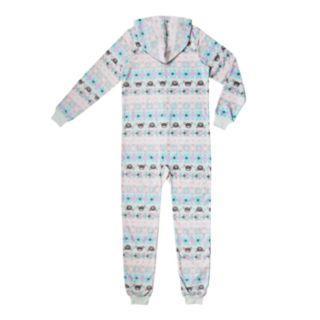 Girls 4-16 Printed Hooded One-Piece Union Suit Pajamas