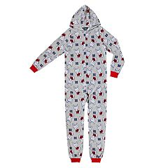 Girls 4-16 Printed Hooded One-Piece Union Suit Pajamas