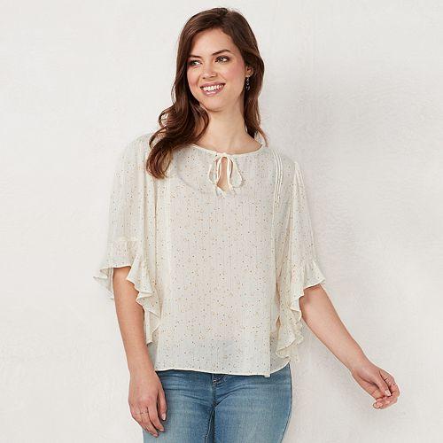 Women's LC Lauren Conrad Print Flounce Sleeve Top