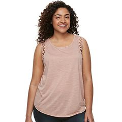 Juniors' Plus Size Mudd® Lattice-Detail Scoopneck Tank