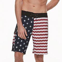 Men's Ocean Current Slim-Fit American Flag Stars & Stripes Stretch Tech Cargo Board Shorts