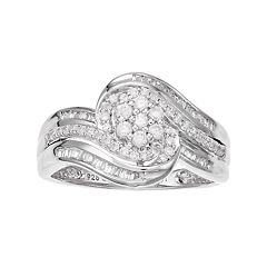 10k White Gold 1/2 Carat T.W. Cluster Diamond Ring