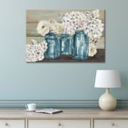 Artissimo Designs Colorful Flowers In Mason Jar Canvas Wall Art
