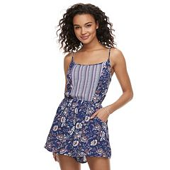 Juniors' Lily Rose Mixed-Print Romper
