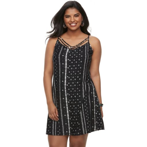 Juniors' Plus Size Mudd® Printed Strappy Swing Dress