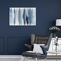 Artissimo Designs Even Flow Blue Canvas Wall Art