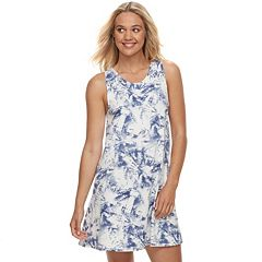 Juniors' About A Girl Print Lattice-Trim Swing Dress