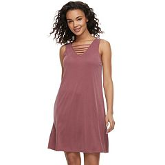 Juniors' Pink Republic Solid Strappy Trapeze Dress
