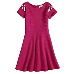 Girls 7-16 Lavender Lattice Cap Sleeve Skater Dress