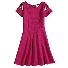 Girls 7-16 Lavender Lattice Cap Sleeve Skater Dress
