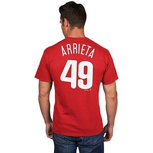 Men's Majestic Philadelphia Phillies Jake Arrieta Name & Number Tee