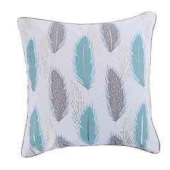 Levtex Victoria Teal Feathers Throw Pillow